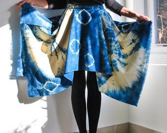 Indigo Shibori Hand-crafted and Hand-dyed Wool Skirt with Asymmetric Hem