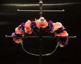 Pink and Purple Flower Crown - OOAK