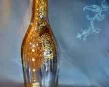 Stained glass Unique design Gold ornament Art floral pattern Gold floral design Colored glass bottle Painted fantasy flower decor