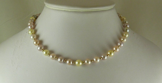 "Multi-Color Freshwater Pearl Necklace,14k Yellow Gold Beads & Clasp 15"" Long"