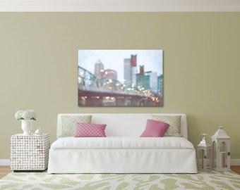 Colorful canvas, large Portland Bridge canvas, Hawthorne bridge, colorful abstract photograph, oregon art, blurry lights, living room