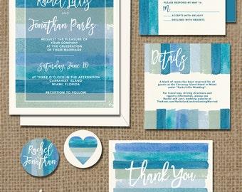 Watercolor beach wedding invitation printable | stripes ocean blue green seaglass stripe | Invite + RSVP  + Details + Thank You + 2 stickers