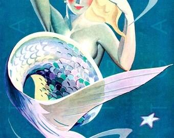 SPECTACULAR 1920's Mermaid Art. Art Deco Digital Mermaid Download. Vintage Mermaid Illustration. Mermaid Print.