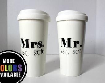 Engagement gift. Mr. and Mrs. Established travel mug.Wedding mug.Engagement coffee mug.Established year.Wedding gift.2017. Couple gift