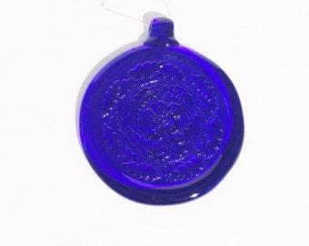 Cobalt Blue Ornament, Hand blown blue glass,Cobalt blue sun catcher, 4 inches round