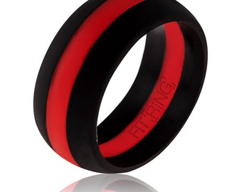 Fit Ring ™ Powered by Arthletic™ - Men's Silicone Wedding Ring Thin Red Line