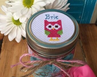 Personalized Mason Jar with Owl, Mason Jar Decor, Mason Jar Lid, Owl Decor, Gift for Kids, Personalized Baby Gift, Cross Stitch Art