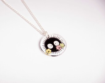 Soot sprite necklace - Spirited Away - Hayao Miyazaki - Ghibli studio - Translucent acrylic - Geek and cute