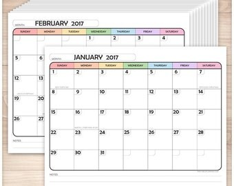 Printable 2017 Calendar PDF - Rainbow Modern rounded design - 12 Months in 1 PDF file - 7 colored days of the week - Instant Download