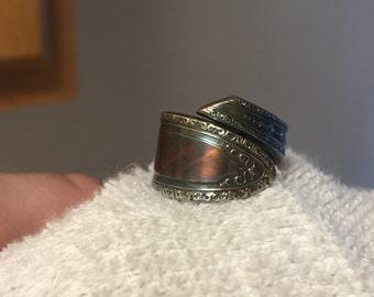 Hand Bent Size 5.25 Dark Rainbow Spink Spoon Ring