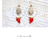 CGC022 - Gold boho-luxe geometric drop earrings with beige jasper and red coral stones