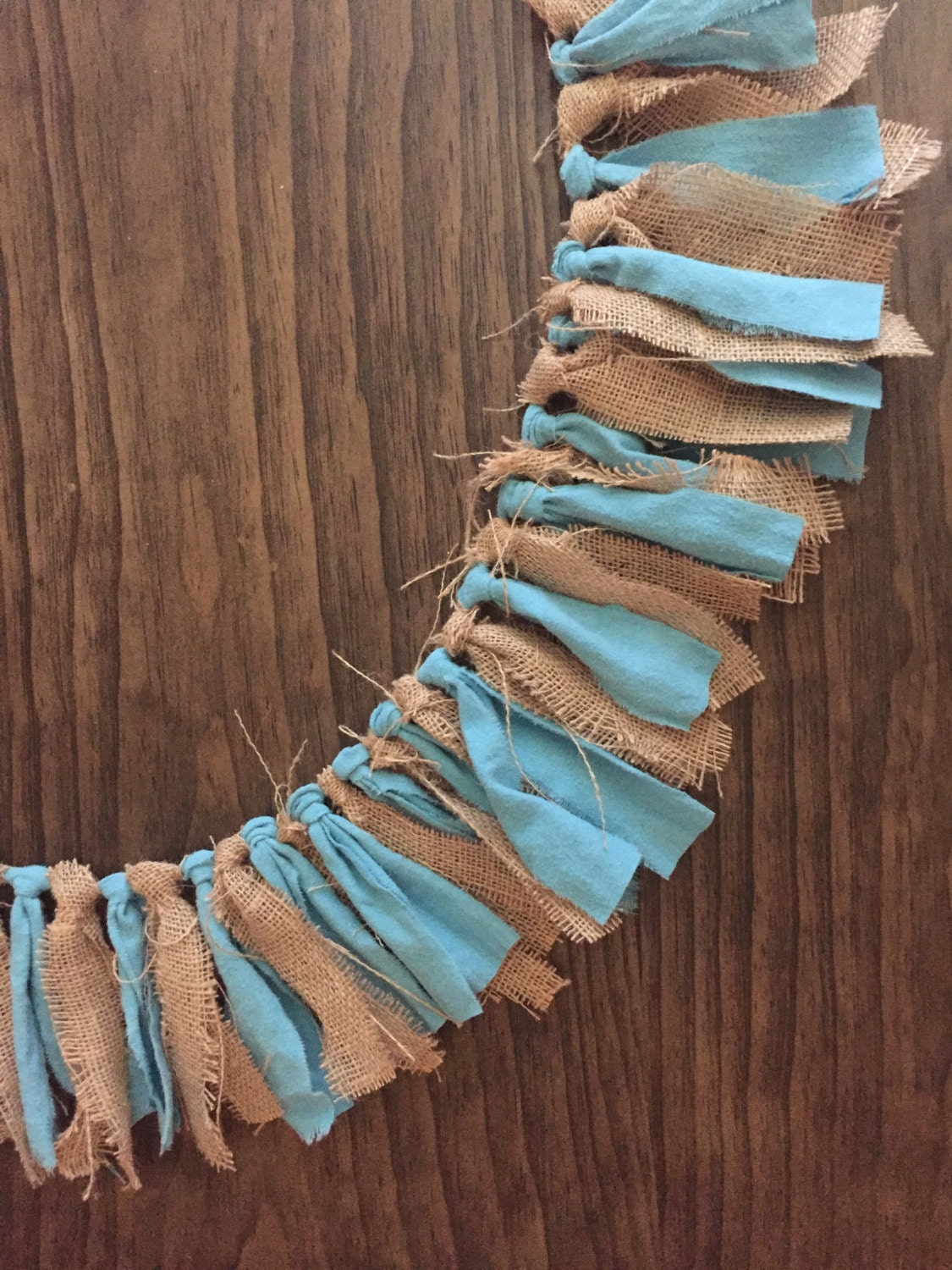 Burlap blue fabric garland banner rustic theme party for Baby themed fabric