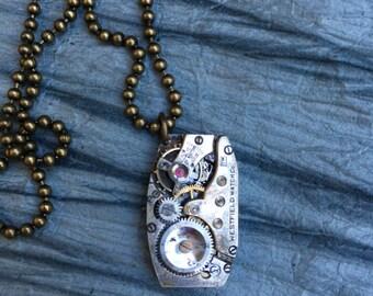 Silver Steampunk Necklace, Unique Necklace, Watch Necklace, Original Necklace, Men's Necklace, Vintage Necklace