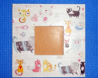 cats decoupage photo frame, picture frame