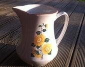 Vintage RPR Riga Porcelain Factory Milk or Water Jug, Sunflower Decor.