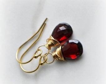 Garnet Earrings, Garnet Dangle Earrings, Gemstone Earrings Gold, Pyrope Garnet Earrings, Gift for Her, Pyrope Garnet Earrings by Blissaria