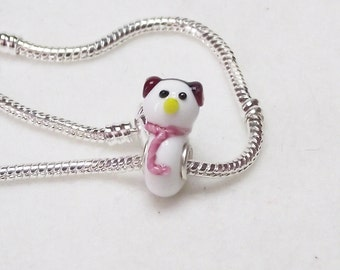 Cute Little Snowman Lampwork Glass Snowman Bead for European Charm Bracelets 925 Sterling Silver F024