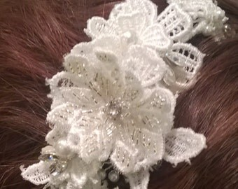 Lace Headpiece, Bridal Taira, Vintage Headpiece, with Pearls, Side Headpiece