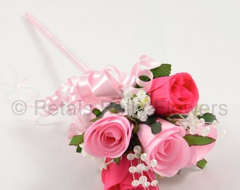 Artificial Wedding Flowers, Baby Pink & Hot Pink Rose Flower Girl Wand
