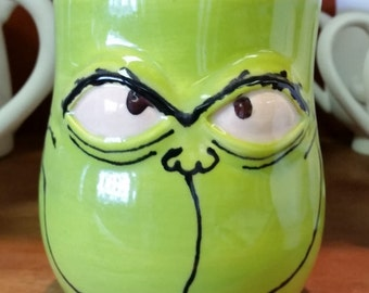 Grinch mug hand painted