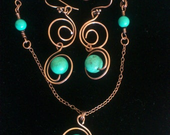 Set Necklace and Earrings Turquoise