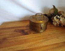 Round Brass Cricket Box - Vintage Cricket Box, Incense Box, Vintage Brass Box, Pierced Brass, Brass Trinket Box, Potpourri Box