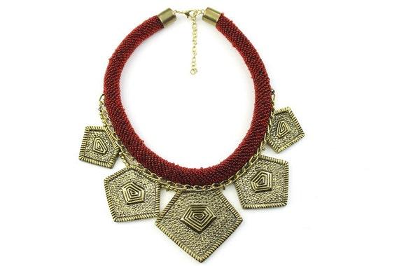 African Enchantress Necklace, Statement Necklace, Festival Jewelry, Tribal, Ethnic Necklace, Bib Necklace, BOHO