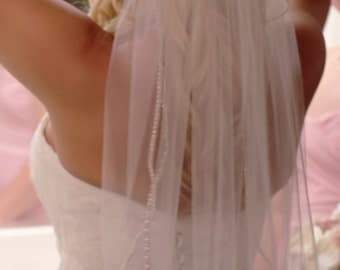 Wedding Veil - Rhinestone & Pearl trim