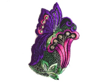 Applique, butterfly on flower applique, 1930s vintage embroidered applique. Vintage floral patch, sewing supply. #645G116K26