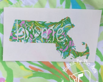 Lilly Pulitzer Inspired State Home Vinyl Decal |  Yeti Decal |  Lilly Car Decal | Rtic Decal | Car Decal | State Decal | Home Decal