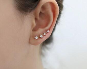 Ear Climber, CZ Ear Crawler, Delicate Ear Sweep, Crystal Ear Climber, CZ Ear Climber, Bridesmaid Earring, Bridal Ear Climber, CZ Ear cuff