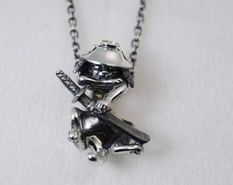 Silver Samurai cats neckless chain - NYANBEI