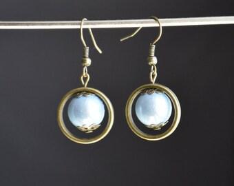 Earrings antique brass cat's eye pearls