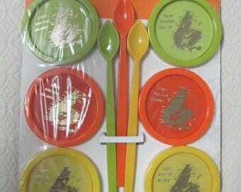 Cape Breton Island, Tourist Novelty, 6 Coasters, 6 Spoons, Vintage