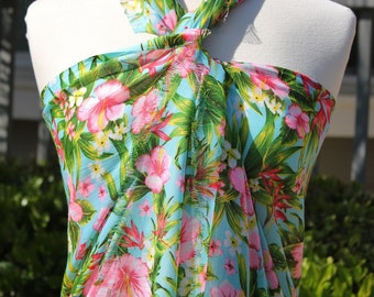 Tropical Pink Hibisicus Sarong and Scarf