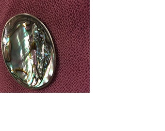 Early Mexican 925 Sterling Silver, Abalone Shell Oval Brooch