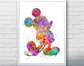 Disney Mickey Mouse Watercolor Art Print - Wall Decor - Watercolor Painting - Artwork - Home Decor - Kids Decor - Nursery Decor