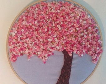 Embroidery hoop art, embroidery design, cherry blossom, pink tree, cherry blossom wall decor, cherry blossom art, cherry blossom embroidery