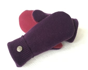 Cashmere Mittens, Purple and Berry, Felted Wool, Sweater Mittens, Fleece Lined Mittens, Gift, Recycled Sweater Mittens
