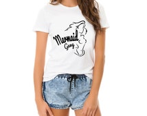 Mermaid tshirt, unisex womans, disney princess shirt, mermaid tee mermaid shirt, cute womans top, princess shirt, mermaid gang, slogan funny
