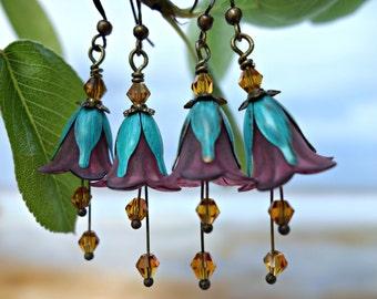 Boho Earrings - Flower Earrings - Bohemian Earrings - Floral Earrings - Purple Earrings - Turquoise Earrings - Dangle Drop Earrings Vintage.