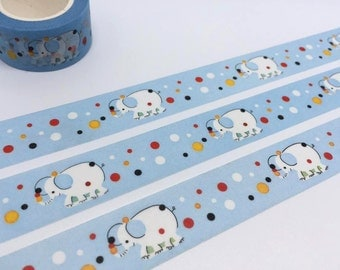 elephant washi tape 10M x 2cm  polka dot elephant washi tape animal blue sticker tape deco kid party invitation planner diary scrapbook gift