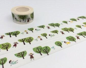 Green Tree washi tape 10M fairy tale tree masking tape funny cartoon blow away tape sticker Windy day girl planner scrapbook gift
