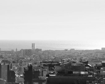 Barcelona City view Black and White