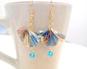 Origami Fan Earrings, Origami Fans, Paper Fan Earrings, Japanese fans - Delicate Blue and Ivory