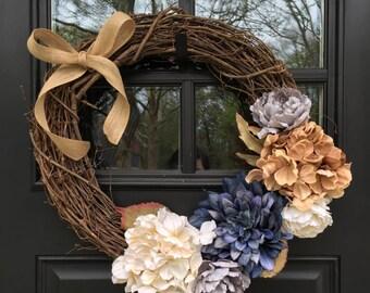 Shabby Chic Front Door Wreath - Grapevine Wreath - Home Decor - Front Door Wreath