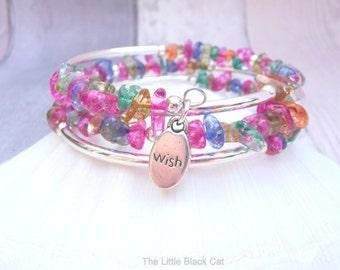 Rainbow Quartz Bracelet, Quartz Bangle, Rock Crystal Bracelet, Wrap Bangle, Gemstone Bracelet, April Birthstone, Gift For Her, Ladies Gift
