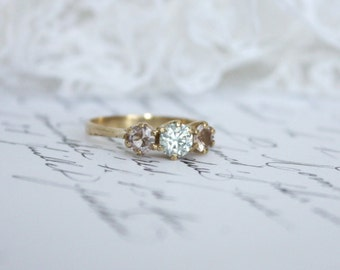 Moissanite and Pink Emerald in 9K Yellow Gold Vintage Crown Set Trilogy Ring