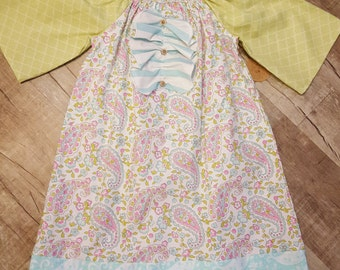 Spring Paisley Peasant Dress