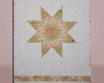 "Native American Lone Star in Pastels Hand Quilted Wall Hanging  Handmade Heirloom Quality  Quilt - 27""x44"" - Mary Brader #195"
